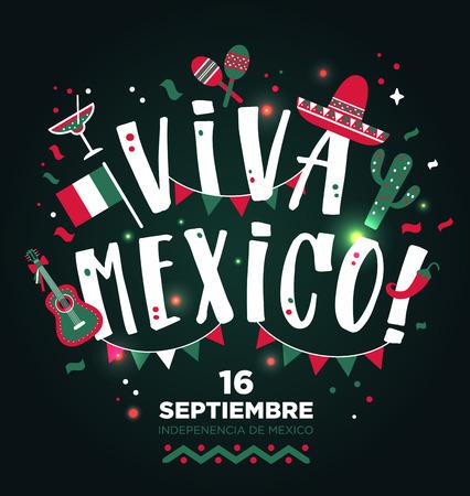 Illustration pour Viva Mexico hand drawn type design. Banner invitation background. - image libre de droit