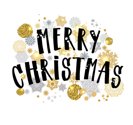 Illustration pour Merry Christmas gold glittering lettering design. Vector illustration on white background. - image libre de droit
