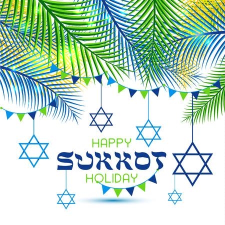 Illustration for Happy Sukkot Holiday. Jewish Holiday Sukkot. Vector Jewish new year. Autumn Fest. Rosh Hashana Israel Sukkah. Palm tree leaves frame. - Royalty Free Image
