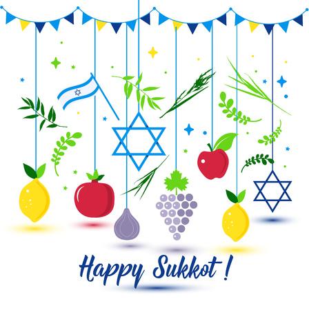 Ilustración de Happy Sukkot Holiday. Jewish Holiday Sukkot. Vector Jewish new year. Autumn Fest. Rosh Hashana Israel Sukkah. Palm tree leaves and fruits. - Imagen libre de derechos