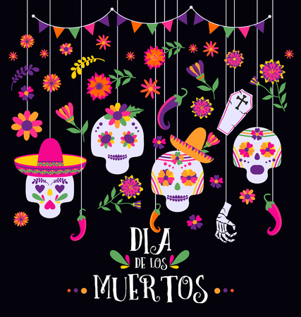 Illustration for Day of the dead, Dia de los muertos, banner with colorful Mexican flowers and icons. - Royalty Free Image