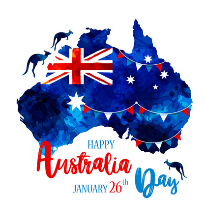 Illustration for Happy Australia day lettering. Map of Australia with flag on a blue blots hand drawn - Royalty Free Image