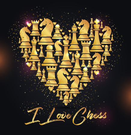 Illustration for Print with golden chess pieces of heart. Design I love chess. - Royalty Free Image
