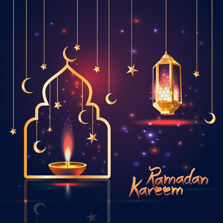Illustration for Ramadan Kareem islamic illustration with 3d cute lantern and star and moon. - Royalty Free Image