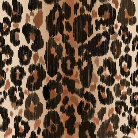 Illustration pour Seamless leopard wild nature embroidery pattern. - image libre de droit