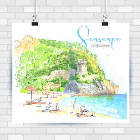 Illustration for City sketch in hand drawn style. Travel inspiration. - Royalty Free Image