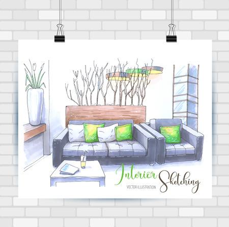 Illustration pour Interior scetching. Hand drawn illustration. Vector background. - image libre de droit