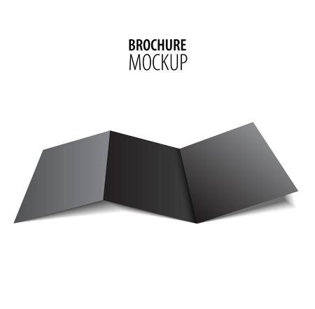 Ilustración de Blank trifold paper black brochure mockup isolated on white. - Imagen libre de derechos