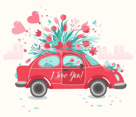 Illustration for Red car delivering bouquet of tulips pink background. February 14 card, Valentine day. Flower delivery. 8 March, International Happy Women Day. - Royalty Free Image