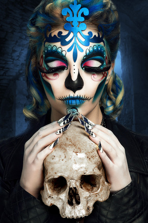 Photo pour New creative calavera is a representation of human skull. applied to decorative make up the Mexican celebration of the Day of the Dead Dia de los Muertos and the Roman Catholic holiday All Souls Day - image libre de droit