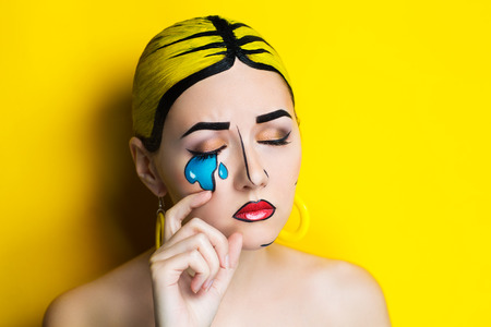Photo for New Creative woman lady girl model play comics blue red yellow colors. Bright conceptual art makeup glows light party time. Multicolored paints coloring hair. Positive good lifestyle vintage, earrings - Royalty Free Image