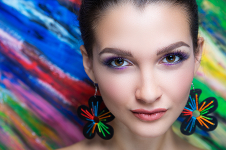 Foto de Creative make-up new conceptual idea. colorful bold faceart body art painting. Crazy new graphic abstract picture, woman face surrealistic. professional photo. Creativity art lines concept perfection - Imagen libre de derechos