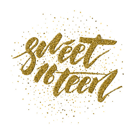 Illustration pour Sweet Sixteen - lettering design for posters, flyers, t-shirts, cards, invitations, stickers, banners. Hand painted brush pen modern calligraphy isolated on a white background. - image libre de droit