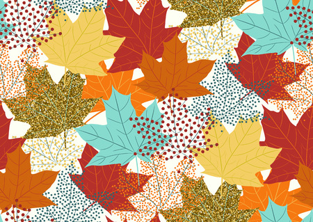 Photo for Maple leaves seamless pattern, flat design template, vector illustration - Royalty Free Image