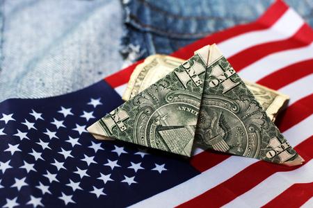 Photo pour american dollars bills on flag background, finance - image libre de droit