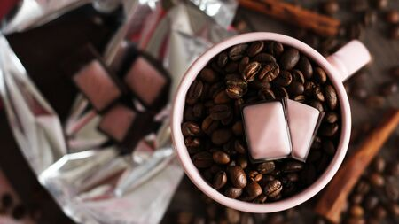 Photo for Pieces of dark chokolate and coffee beans - Royalty Free Image