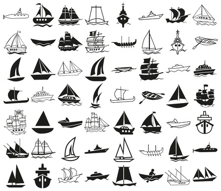 Illustration pour icons illustration black on a white background on the topic of ships - image libre de droit
