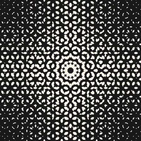 Illustration pour Vector halftone pattern, monochrome texture with small rounded shapes, visual effect of gradient transition, circular form. Abstract ornamental background. Seamless design for prints, covers, decor - image libre de droit