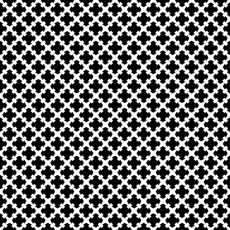 Ilustración de Vector seamless pattern. Simple black & white geometric texture. Endless ornamental background, retro gothic style. Symmetric square abstract backdrop. Repeat tiles. Design for prints, textile, fabric - Imagen libre de derechos