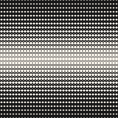 Illustration pour Vector geometric halftone seamless pattern. Hipster fashion design print. Abstract monochrome texture with gradient transition effect. Illustration of mesh, curved lines with gradually thickness - image libre de droit