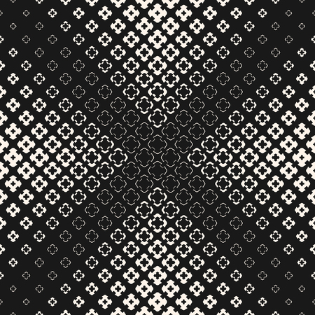 Illustration pour Vector seamless pattern, halftone geometric texture with floral shapes, carved crosses. Abstract monochrome background, gradually transition visual effect in pyramid form. Dark design for decor, web - image libre de droit