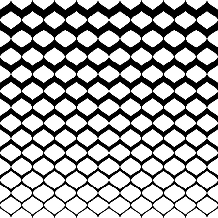 Illustration pour Halftone seamless pattern, vector monochrome texture with gradient transition effect from black to white. Illustration of mesh with gradually thickness. Abstract background. Design for prints, covers - image libre de droit