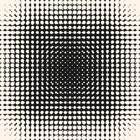 Illustration pour Vector halftone circles pattern, monochrome texture, visual effect of gradient transition. Abstract dotted background, grunge dots. Square design element for prints, covers, digital projects, web - image libre de droit