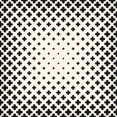 Illustration pour Vector halftone pattern, monochrome texture with gradient transition effect. Square background with different sized crosses, carved shapes, morphing figures. Design element for prints, covers, decor - image libre de droit