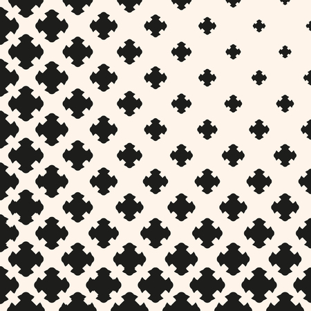 Illustration pour Vector halftone pattern with floral shapes, carved crosses. Monochrome texture with gradually transition effect in corner. Modern abstract background. Square design element for prints, covers, decor - image libre de droit