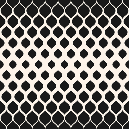 Illustration pour Vector seamless pattern. Monochrome background with halftone transition effect, vertical gradient. Abstract modern geometric texture with rounded shapes, repeat tiles. Contemporary graphic design. - image libre de droit