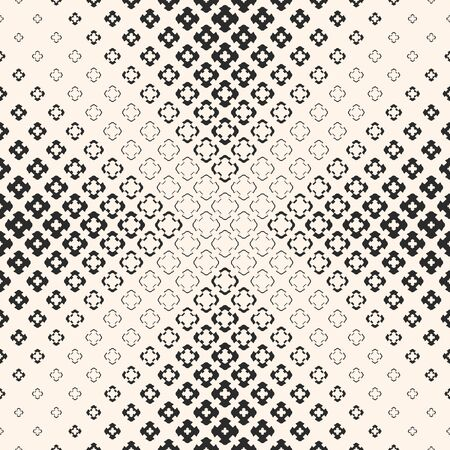 Illustration pour Vector seamless pattern, halftone geometric texture with floral shapes, carved crosses. Abstract monochrome background, gradually transition visual effect in pyramid form. Design for prints, covers - image libre de droit