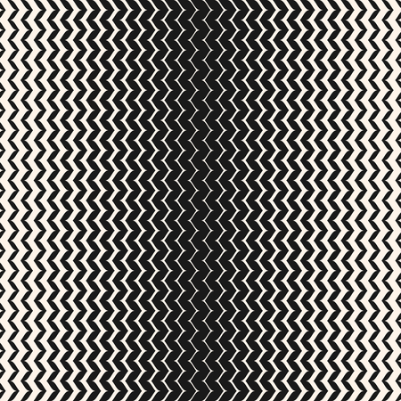 Illustration pour Vector halftone background. Modern abstract geometric seamless pattern with curved zigzag lines. Vertical wavy zig zag stripes with gradually thickness. Gradient transition effect. Monochrome texture - image libre de droit