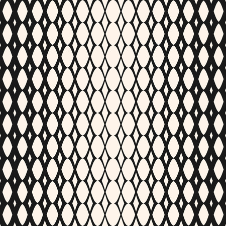 Illustration pour Halftone mesh seamless pattern. Vector monochrome geometric texture with gradient transition effect. Hipster fashion background. Gradually thickness lattice. Design for decor, prints, fabric, clothing - image libre de droit