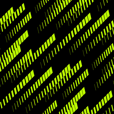 Illustration pour Abstract geometric seamless pattern with diagonal lines, tracks, halftone stripes. Extreme sport style, urban art texture. Trendy background in bright neon colors, green and black. - Stock vector - image libre de droit
