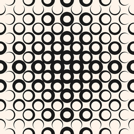 Ilustración de A Vector geometric halftone seamless pattern with circles, rings, dots. Abstract texture in black and white colors. - Imagen libre de derechos