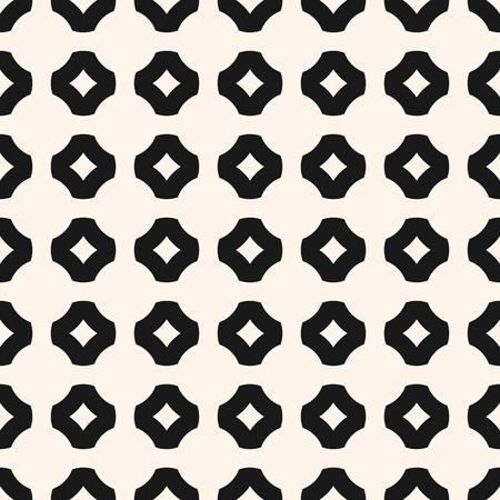Ilustración de Black and white geometric seamless pattern. Simple ornamental texture with floral shapes, crosses. - Imagen libre de derechos