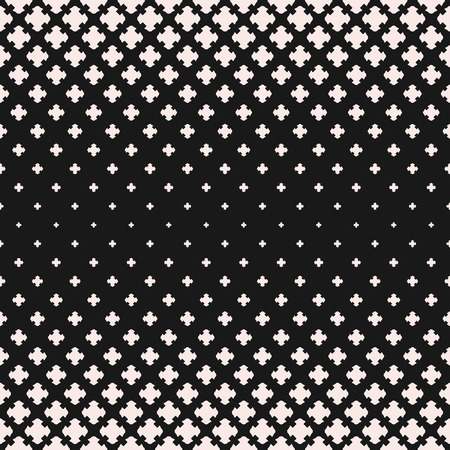Illustration pour Vector halftone texture, monochrome seamless pattern, gradient transition effect. Geometric background with falling floral shapes, carved crosses. Dark abstract design element for prints, decor, cloth - image libre de droit