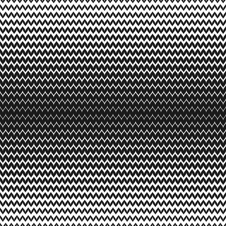 Illustration pour Vector halftone background. Abstract geometric seamless pattern with curved zigzag lines. Black & white horizontal zig zag stripes. Wavy gradient transition effect. Stylish monochrome chevron texture - image libre de droit