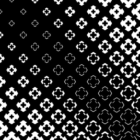 Illustration pour Vector halftone texture, monochrome abstract pattern. Gradient transition effect from black to white. Floral geometric shapes, carved crosses in diagonal grid. Dark design for prints, covers, digital - image libre de droit