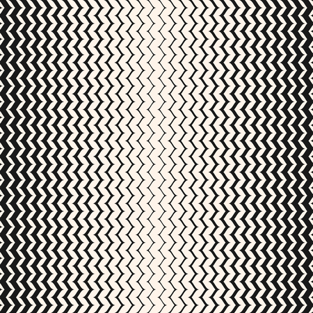 Illustration pour Vector halftone background. Abstract geometric seamless pattern with curved zigzag lines. Vertical wavy zig zag stripes with gradually thickness. Gradient transition effect. Stylish monochrome texture - image libre de droit