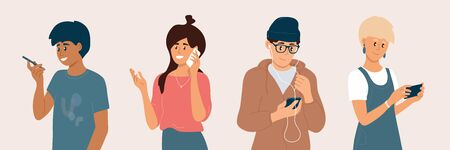 Ilustración de Group of young people using smartphones. Men and women chatting online, making video call, listening to music by earphones, talking, chek social media. Mobile internet technology vector illustration. - Imagen libre de derechos