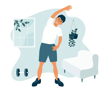 Ilustración de Stay home, keep fit and positive. Man doing side bends, stretching. Sport exercise, fitness workout. Physical activity, healthy lifestyle concept. Quarantine lockdown. Gym at home vector illustration. - Imagen libre de derechos