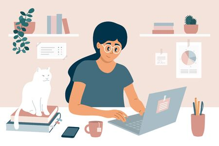 Illustrazione per Working at home office. Young woman sitting behind work table, chatting online with colleagues using laptop. E-learning, studying or education concept. Freelance girl and white cat vector illustration - Immagini Royalty Free