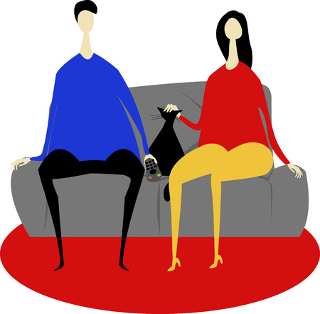 Illustrazione per Couple and cat on sofa - Immagini Royalty Free