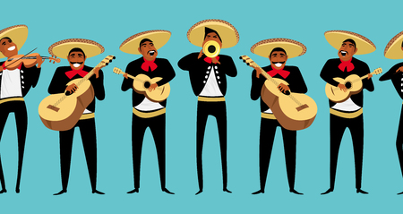 Illustration for Mexican musicians. seamless pattern - Royalty Free Image