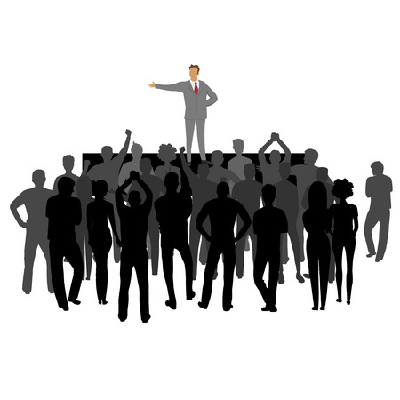 Illustration for group of people at the rally. group leader. silhouette of people - Royalty Free Image
