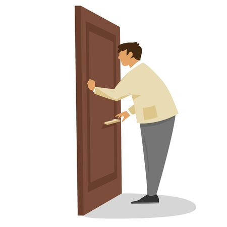 Illustrazione per a man knocks on the door. vector flat illustration - Immagini Royalty Free