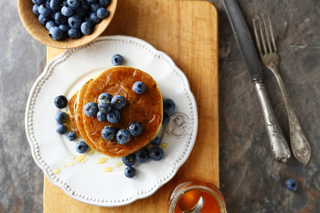 Photo for stack  pancakes with berry, above - Royalty Free Image