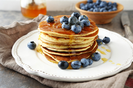 Photo for pancakes with honey on plate - Royalty Free Image