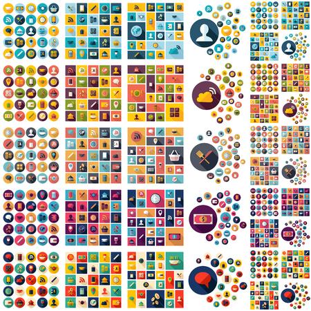 Illustration pour Flat concept design with shadow SEO business icons - image libre de droit